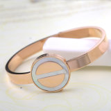 Moda Senhoras Bangle Jóias Rose Gold Stainless Steel Shell Bracelet