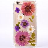 Cristal pressionado real Handmade da flor - caixa desobstruída do telefone