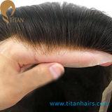 Toupee человеческих волос Remy незримых узлов индийский для людей
