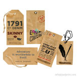 Custom Top Quality Fashion Kraft Cardboard Hang Tags para roupas
