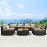 柳細工のテラスのソファーの屋外の椅子表のホーム庭の柳細工の家具の藤の家具
