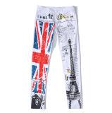 Людей размера изготовленный на заказ белого тонкие отдыха Эйфелевы башни Париж печатание Англии кальсоны джинсыов эластичных больших