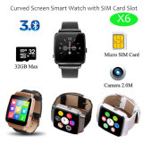 SIMのカードスロット(X6)が付いている曲げられたスクリーンのスマートな腕時計