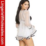 Babydoll сексуальных женщин See-Through отвесные и комплект женское бельё робы