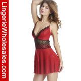 Lingerie sexy de Babydoll Strappy floral rouge ravissant de lacet pour des femmes