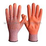 13G Chineema ha lavorato a maglia i guanti resistenti del taglio con la palma arancione del nitrile della gomma piuma tuffata