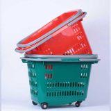 Supermarkt-PlastikEinkaufswagen mit Höhenruder-Rädern