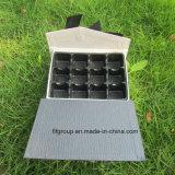 Heißer Verkaufs-Abdeckstreifen-Deckel-Schokoladen-Kasten mit Farbband-Dekor und Griff