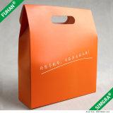 Caixa de presente lisa da embalagem do cartão alaranjado da cor