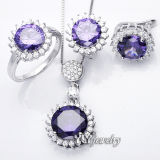 Color Stone Jewelry Set con 925 Sterling Silver