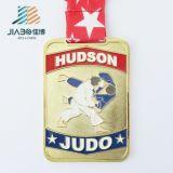 高品質の柔らかいエナメルのカスタムロゴの金属の柔道メダル