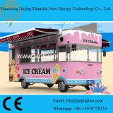 De roze Bestelwagens van de Vrachtwagen van het Voedsel van de Kleur voor het Verkopen van Roomijs/Dranken met Uithangbord