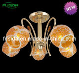 노란 유리에 있는 대중적인 주황색 유리제 펀던트 램프