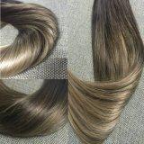 Ombre Balayage Extensions-Klipp in der Menschenhaar-Farbe #2, die verbläßt, um Asche #6#18 blond zu färben