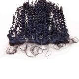 ねじれたカール100%の加工されていないバージンのブラジルの毛のレースのFrontal