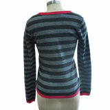 100% cachemira suéter rayado de punto de mujer