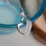 Pendente embutido Heart-Shaped de Crytal da prata esterlina das mulheres 925 com corrente