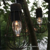 Luces accionadas solares colgantes al aire libre de la cadena de la jaula del bulbo del LED (RS1007)