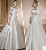 Robe de mariage faite sur commande de 2014 robes nuptiales de lacet argenté (WMA001)
