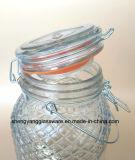 Frasco portátil de bebidas de vidro com tampa e tampa de vidro hermética