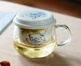 Taza de cerámica grabada del vidrio de Borosilicate de la taza de café de la oficina del filtro de la flor