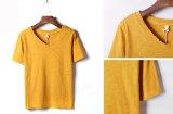Fille de collet du coton V de mode et T-shirt en bambou faits sur commande de femmes
