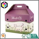 Rectángulo animal del portador del gato acanalado del animal doméstico del papel de Kraft con la maneta