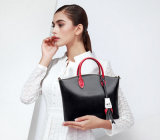 Sprung-Sommer-Form-echtes Leder-Handbag der europäischen Kontrast-Farbe Smilling Gesichts-Kopf-Haut-Dame
