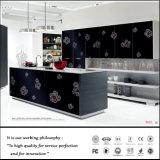 Do projeto preto da flor de Austrália Populai gabinete de cozinha lustroso elevado (FY987)