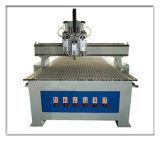 Tres neumática Cabeza Carpintería de grabado del CNC máquina de corte