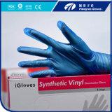 I guanti dell'esame del PVC annullano/colore blu con polvere