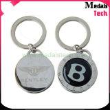銀製の金属の円形の硬貨の形のエナメルの花Keychain