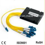 Divisor óptico del PLC de fibra del rectángulo plástico CATV FTTH del divisor 1X8 de CATV