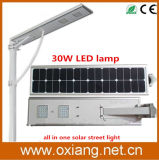 Integrated astuto 30W All in Un Solar Street Light LED Ox-SL230 con High Efficiency Imported Silicon Solar Cell