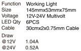 Luz de inundación de trabajo de luz LED