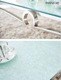 ステンレス鋼フレームが付いている流行の現代ガラス食堂の家具