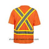 Salut T-shirt r3fléchissant de travail de sûreté de force avec le collet de V