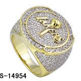 El micr3ofono de plata 2016 del oro amarillo de Hotsale 925 pavimenta el anillo de los hombres de la configuración