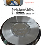 Vaisselle de cuisine plate de carter de friture d'acier inoxydable