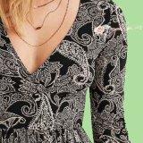 Платье партии вечера шеи Джерси v Knit повелительниц макси с втулками напечатанными Paisley длинними