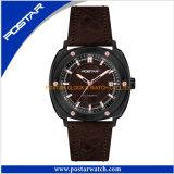 Einfache Art-Quarz-Uhr für Männer mit echtes Leder-Band