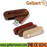 Memória Flash de madeira do USB do giro feito sob encomenda para a promoção