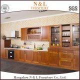 Gabinete de cozinha italiano do projeto da mobília da porta de vidro da madeira contínua da cereja/carvalho de N&L