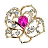 Brooch chapeado ouro do cristal da flor de VAGULA Rosa