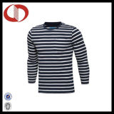 Les T-shirts 100% des longs hommes rayés de chemise de coton