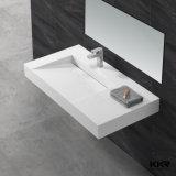 Lavabo de colada superficial sólido italiano tamaño pequeño moderno del cuarto de baño