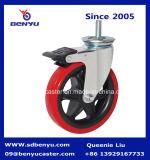 5インチTPUの物質的な車輪によって通される茎の旋回装置の足車