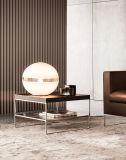 Table basse en bois lustrée élevée avec la base d'acier inoxydable (CTS-010)