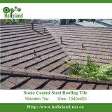 Telha de telhado do metal com a pedra revestida (telha de madeira)