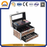ヒョウの構成(HB-2004)のための革装飾的なスーツケースのトレインケース